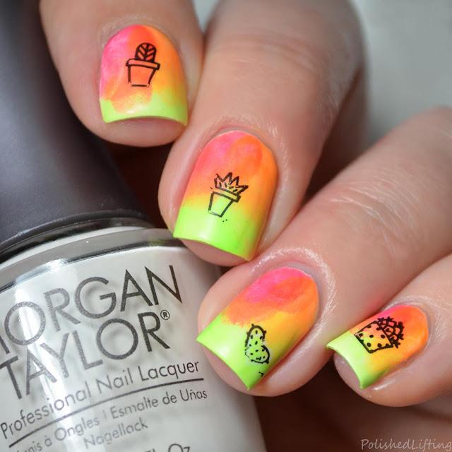 gradient cactus nail art