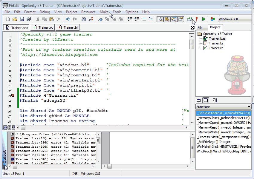 t2Eservo: Spelunky v1 1 Trainer Tutorial Using FreeBASIC v0 23 0