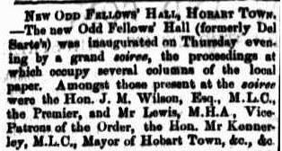 New Odd Fellows hall Hobart July 1871