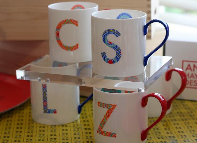 anna hayman initial printed teacups