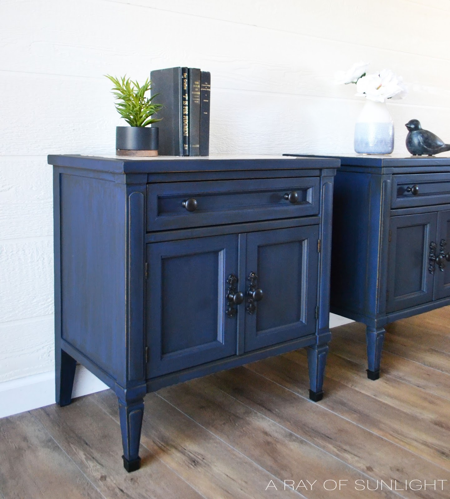The Antique Blue Nightstand Makeover - A Ray of Sunlight