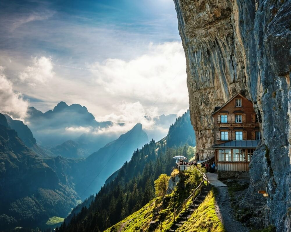 22 Stunning Hotels That Will Make You Want to Book Your Next Trip NOW! - Äscher Cliff, Switzerland