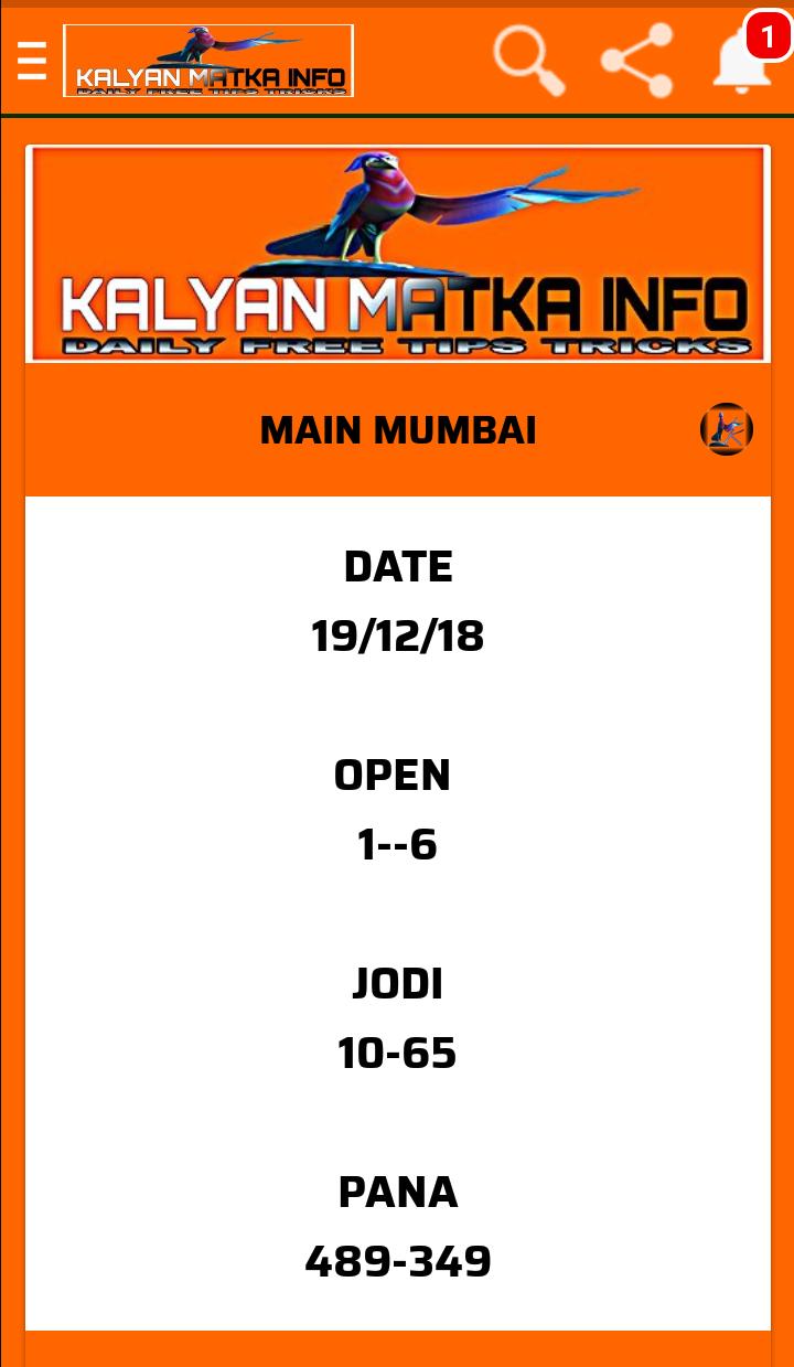 MAIN MUMBAI FIX OPEN TO CLOSE JODI AND PANNEL - Kalyan Matka