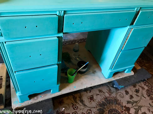 desk painted in teal