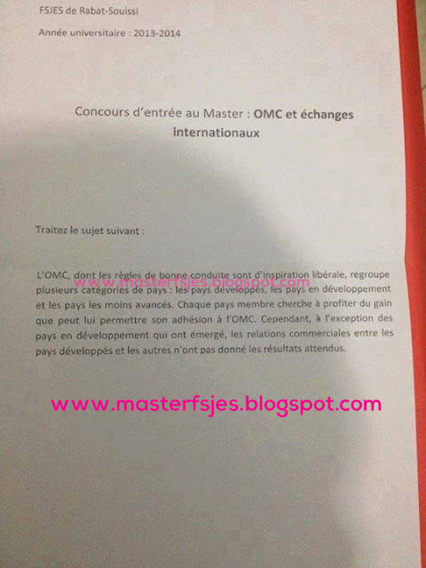 Concours d'accès au Master Commerce International 2013-2014