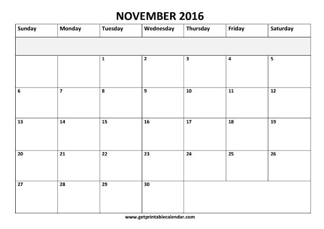 November 2016 Calendar, November 2016 Calendar Printable, November 2016 Calendar Template, November 2016 Printable Calendar, November 2016 Blank Calendar