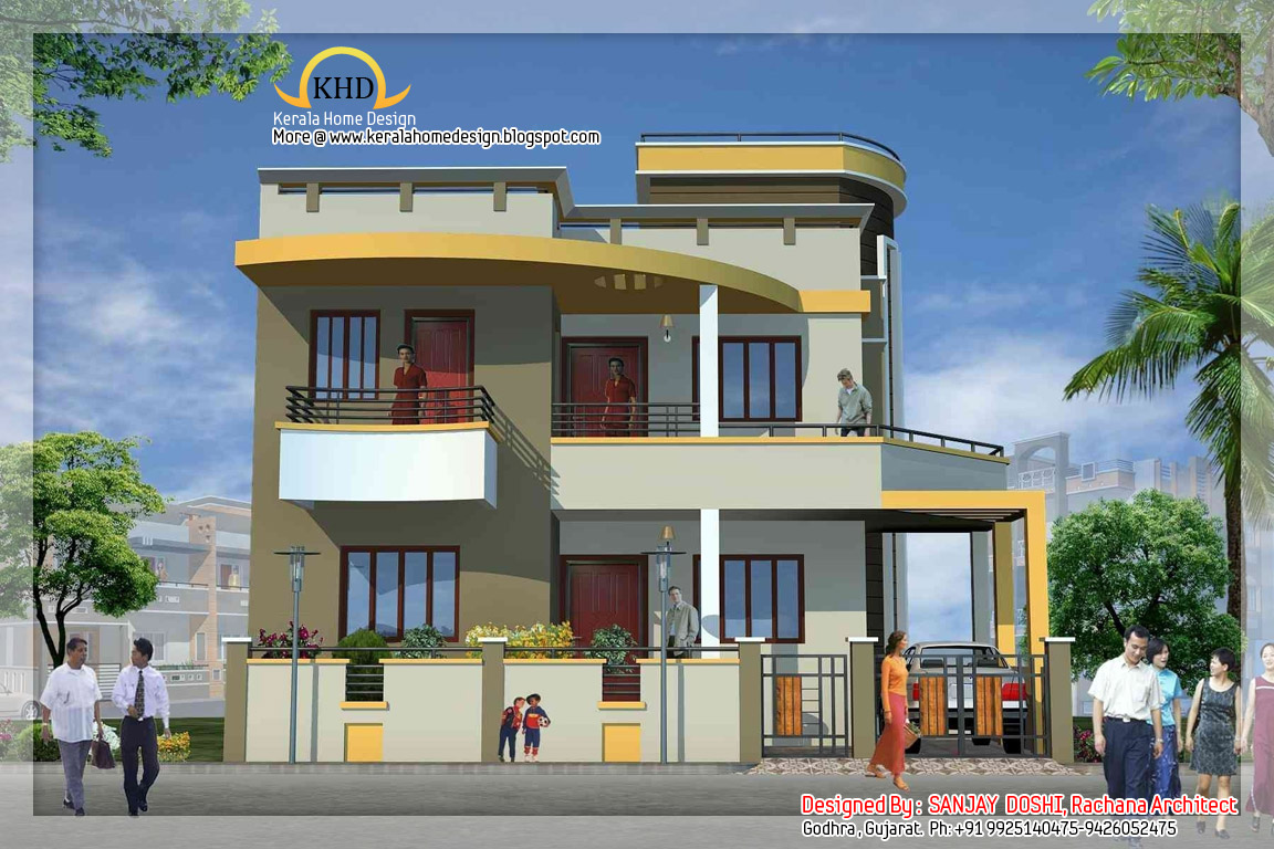 Duplex house elevation kerala home design and floor plans for Front view of duplex house in india