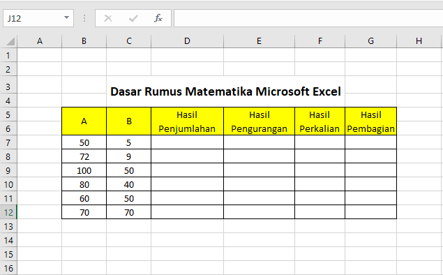 latihan dasar rumus matematika di Microsoft Excel
