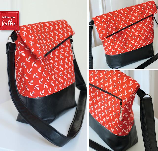 maritime Tasche nach dem Schnitt Fold over von Hansedelli aus Anker- Stoff von Frau Tulpe