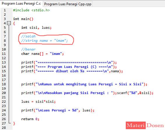 Tipe Data String pada Bahasa C