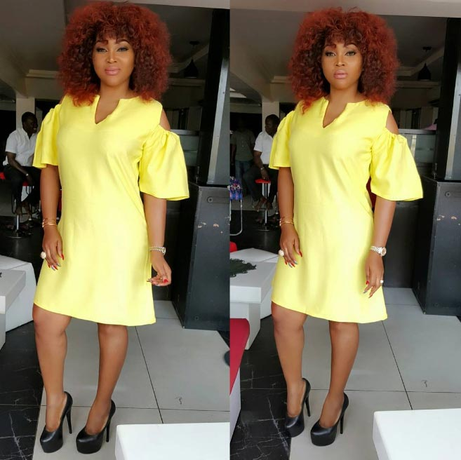 Mercy Aigbe steps out in yellow minigown