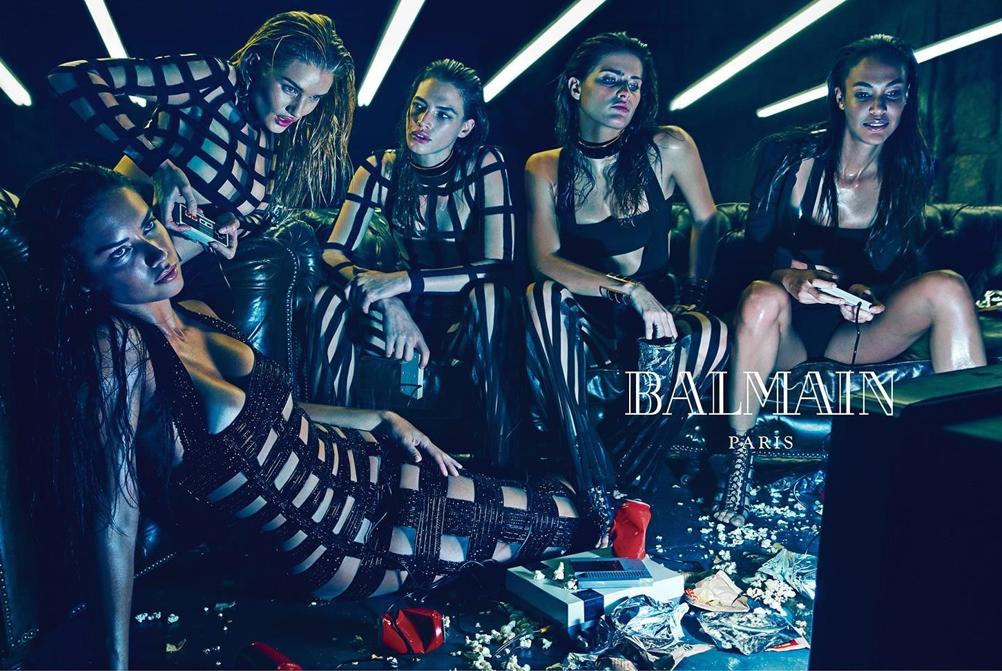 adriana, crista isabeli, joan and rosie by mario sorrenti for balmain spring / summer 2015
