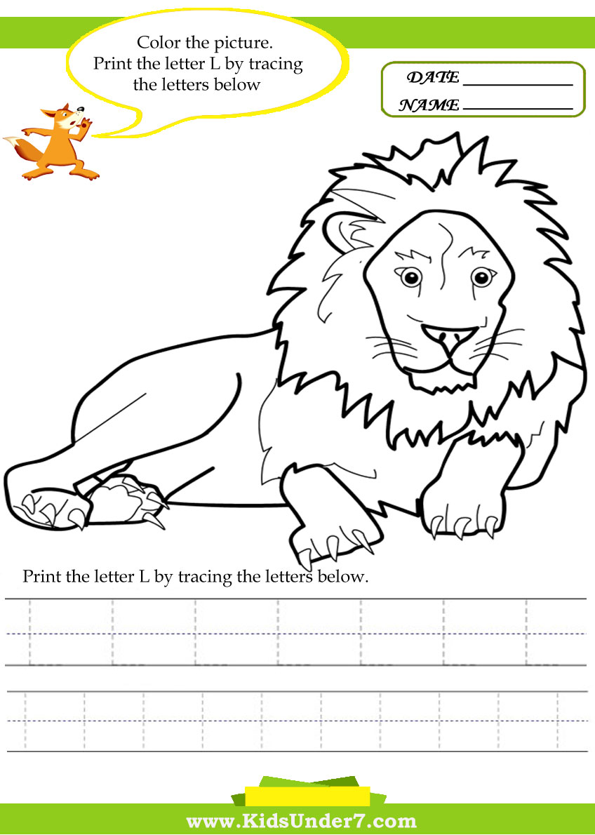 Kids Under 7 Alphabet worksheets Trace and Print Letter L