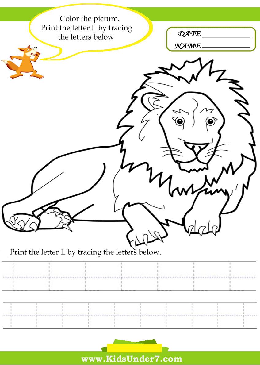 Workbooks tracing worksheets for kindergarten : Kids Under 7: Alphabet worksheets.Trace and Print Letter L