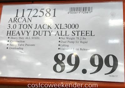 Deal for the Arcan XL3000 3 Ton Professional Steel Floor Jack at Costco