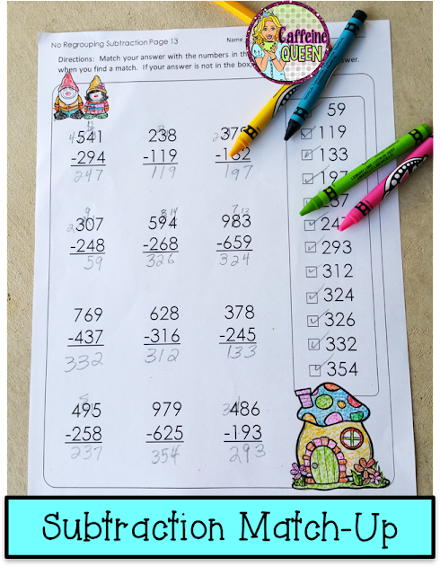 Subtraction Solve and Draw - No Prep worksheets for early finishers and subs!