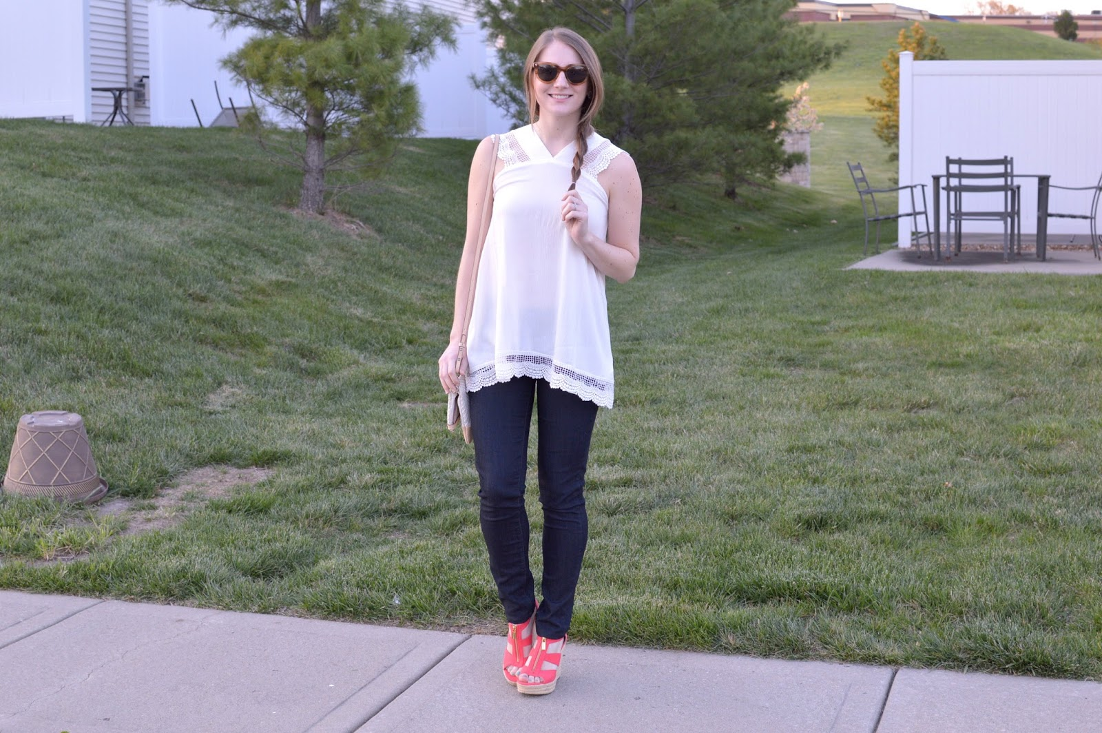 how to style coral wedges | a memory of us | what to wear with colored shoes | white tops for spring | spring outfit ideas | white lace top