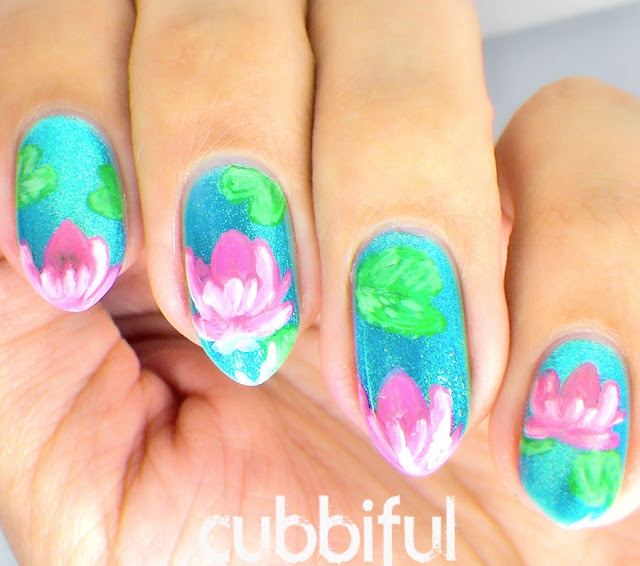 Water Lotus Nail Art