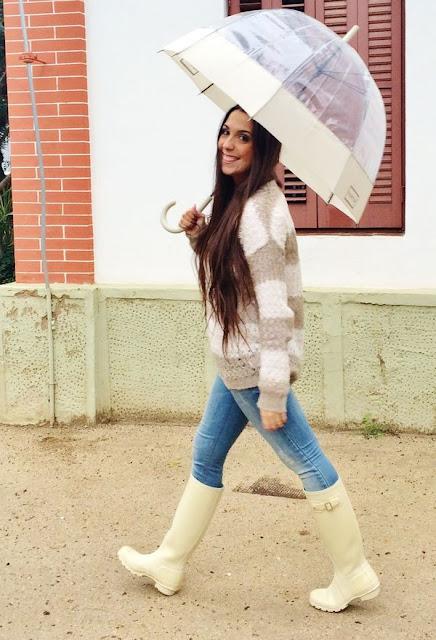 botas para lluvia con taco