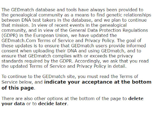 Updates to the Terms of Service and Privacy Policy at GEDmatch