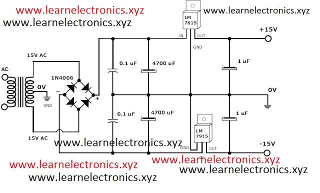 15 Volt 1 Ampere  Power Supply Circuit - Schematic of 15 Volt Power Supply