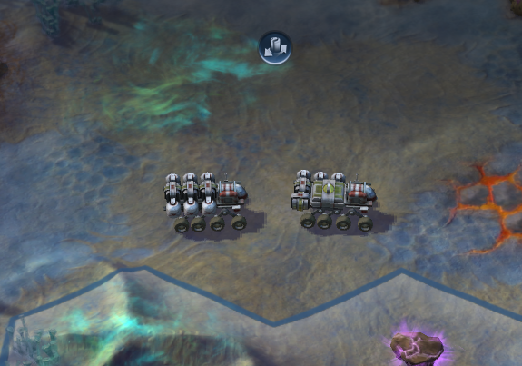 A Trade Convoy in motion. Trade Convoys are needed to trade with stations.