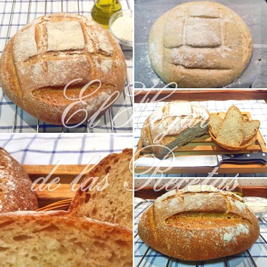 Hogaza de pan de trigo, centeno y aceite de oliva elaborada por el método tradicional