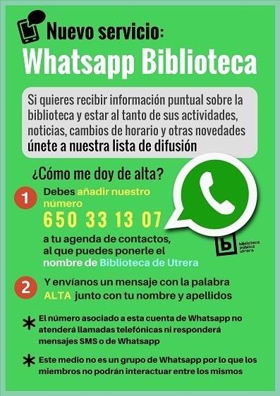 Desde Whatsapp agrega nuestro número 650 33 13 07 y envíanos un texto con la palabra ALTA