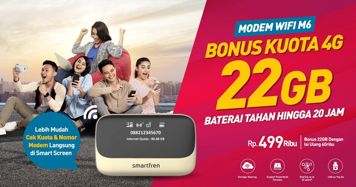 SmartFren - Promo Produk Baru WIFI M6 Bonus Kuota 4G 22 GB