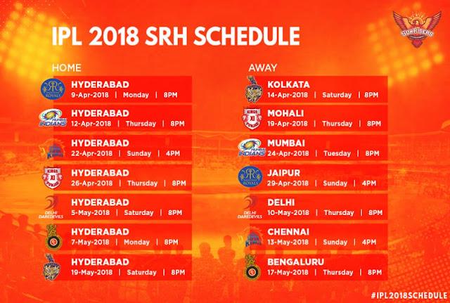 Sunrisers Hyderabad IPL 2018 Schedule Games Fixture and Venue
