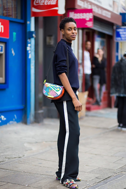 spring 2016, spring trends, track pants, side stripe pants, street style, athleisure, colored accessories