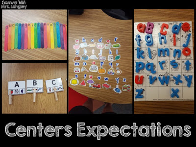 This post explains how I organize my alphabet centers in kindergarten and is a perfect read for back to school. These letter sound and identification centers are fun for students and easy for me to give directions to all because of pictures! See how I use these in our everyday schedule. #backtoschool #classroomorganization #kindergartencenters #kindergarten