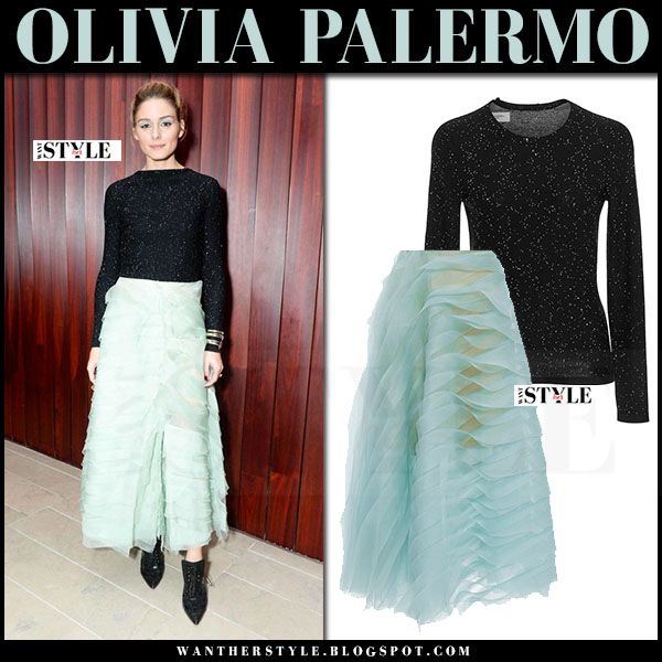 Olivia Palermo in black sequin top, mint tiered organza skirt and black booties carolina herrera what she wore