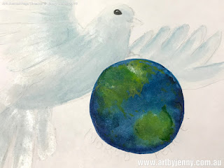 dove painted in white and blue