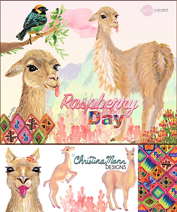 Christina Mann children's book illustration of Vicuna -- Sweet and Saucy, giving Raspberries!
