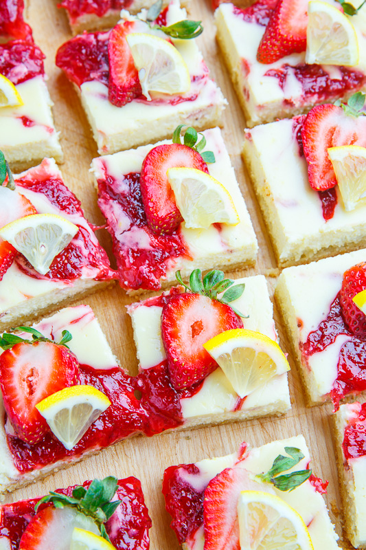 Strawberry Lemon Cheesecake Bars on Closet Cooking