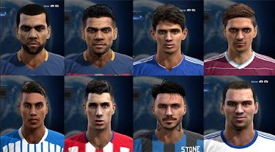 Faces: Daniel Alves x2, Oscar, Lanzini, Eduardo Vargas, Gimenez, Pinilla, Lassogga, Pes 2013
