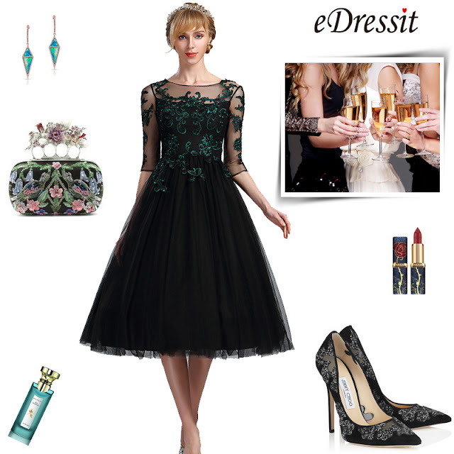 eDressit Black Half Sleeves Lace Appliques Cocktail Dress
