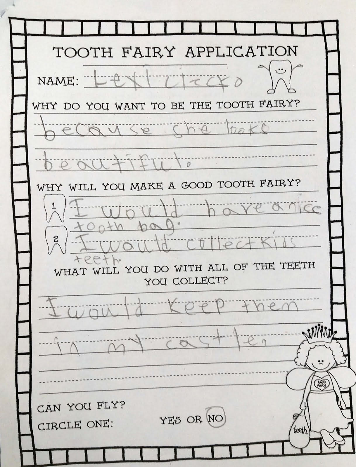 Tooth Fairy Job Application