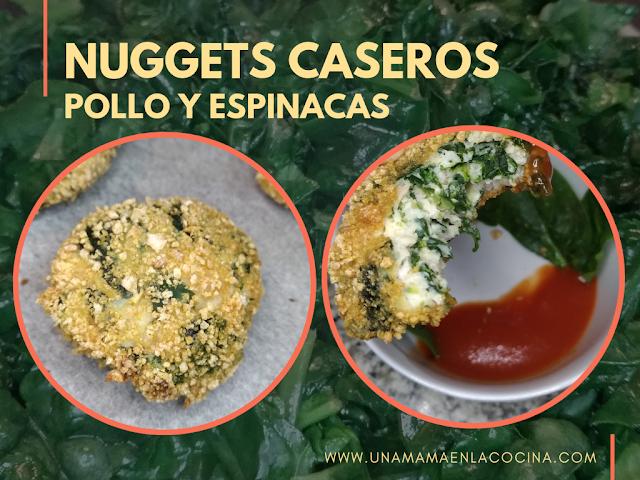 Nuggets caseros de pollo y espinacas al horno. Saludables, fáciles y genial para cocinar con peques
