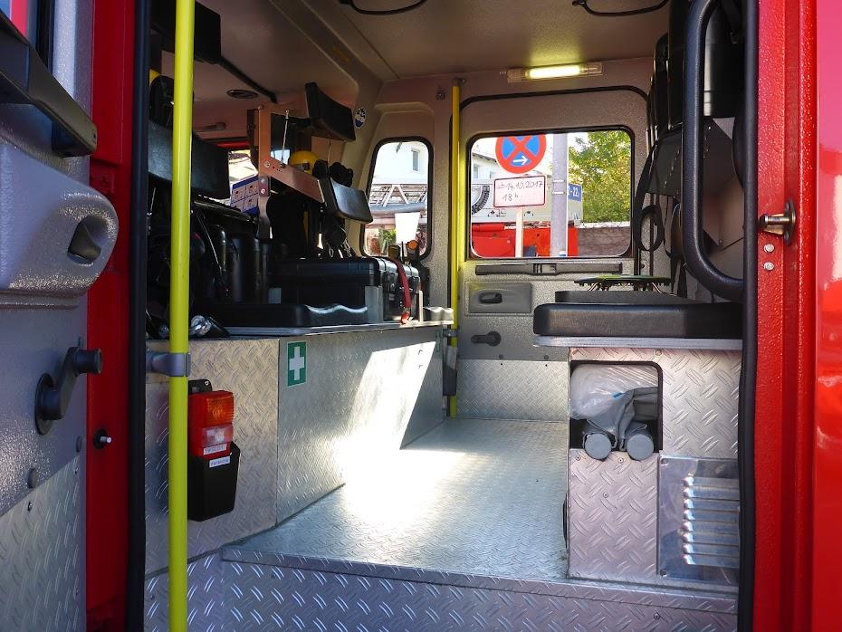 Пожарная, машина, вид, внутри