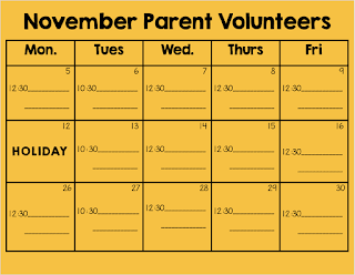 parents sign-up to volunteer to help in the kindergarten classroom.  This lets the teacher know if they have parent help for center time.