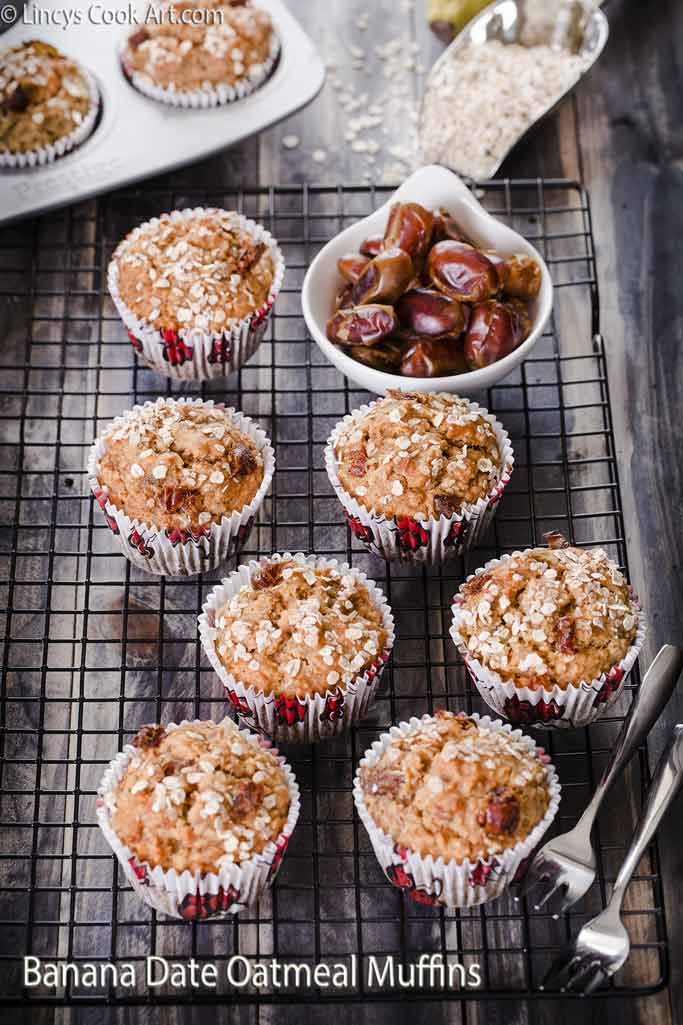 Banana Dates Oatmeal Muffins recipe