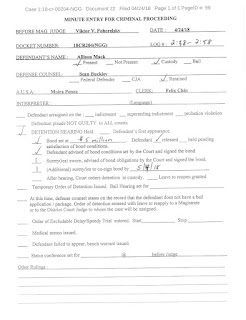 minute entries for Allison Mack's criminal trial page 1