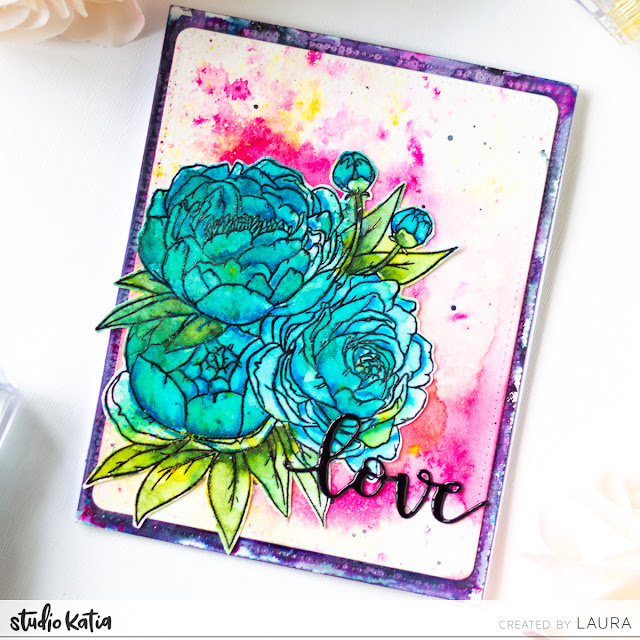 Watercolor with Tonic Studios Shimmer Powders and Studio Katia Floral