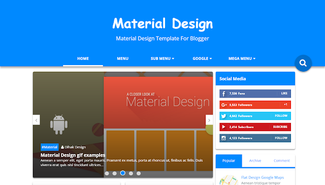 Material Design Blogger Template Free Download Dan Resposnive