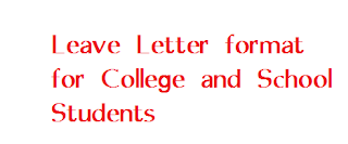 Leave letter format for college and school students letter formats it is always better to submit leave application well in advance except some unavoidable situations like illness certain unexpected incidents altavistaventures