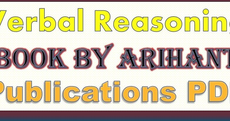 Verbal Reasoning Book By Arihant Publications PDF Download