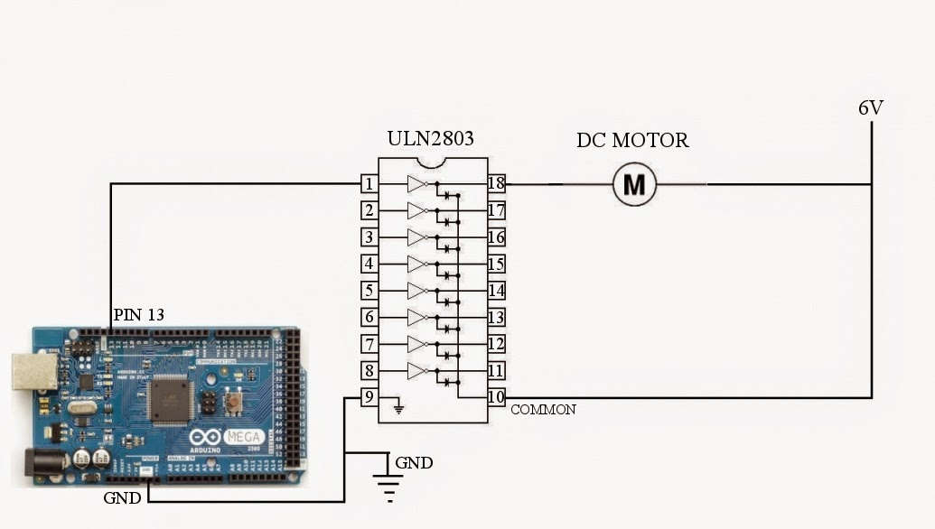 simple dc motor control circuit diagram images to control the circuit diagram to control a dc motor using arduino and uln2803 is