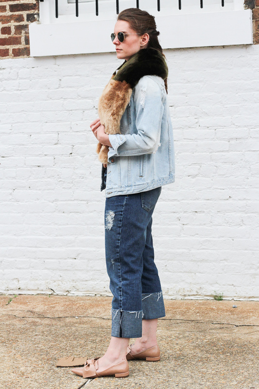 Faux fur and denim outfits